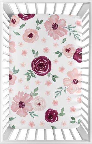 Burgundy Watercolor Floral Girl Fitted Mini Crib Sheet Baby Nursery by Sweet Jojo Designs For Portable Crib or Pack and Play - Blush Pink, Maroon, Wine, Rose, Green and White Shabby Chic Flower Farmhouse - Click to enlarge