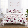 Burgundy Watercolor Floral Girl Full / Queen Bedding Set Kids Comforter Childrens Size by Sweet Jojo Designs - 3 pieces - Blush Pink, Maroon, Wine, Rose, Green and White Shabby Chic Flower Farmhouse