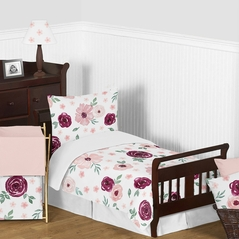 Burgundy Watercolor Floral Girl Toddler Kids Bedding Set by Sweet Jojo Designs - Childrens 5 pieces Comforter, Sham and Sheets - Blush Pink, Maroon, Wine, Rose, Green and White Shabby Chic Flower Farmhouse