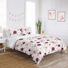 Burgundy Watercolor Floral Girl Twin Bedding Comforter Set Kids Childrens Size by Sweet Jojo Designs - 4 pieces - Blush Pink, Maroon, Wine, Rose, Green and White Shabby Chic Flower Farmhouse