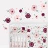 Burgundy Watercolor Floral Large Peel and Stick Wall Decal Stickers Art Nursery Decor by Sweet Jojo Designs - Set of 4 Sheets - Blush Pink, Maroon, Wine, Rose, Green and White Shabby Chic Flower Farmhouse
