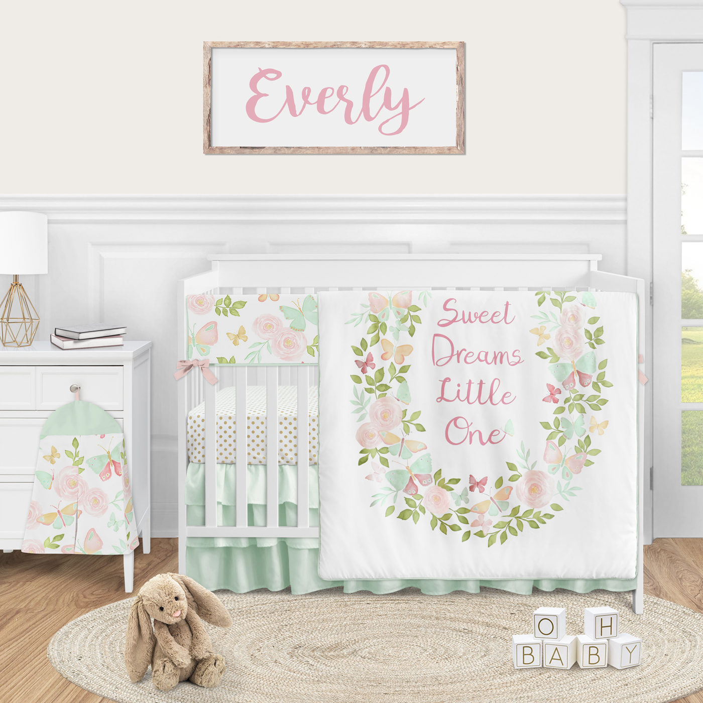 Sweet Jojo Designs Butterfly Floral Rose Large Peel and Stick Wall Decal Stickers Art Nursery Decor Mural Blush Pink Set of 4 Sheets Mint and White Shabby Chic Watercolor Boho Butterflies Garden