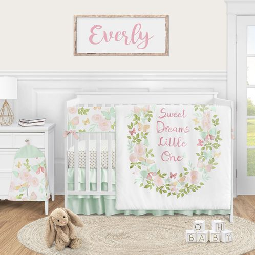 Butterfly Floral Baby Girl Nursery Crib Bedding Set by Sweet Jojo Designs - 5 pieces - Blush Pink Mint and White Shabby Chic Watercolor Rose - Click to enlarge