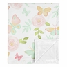 Butterfly Floral Baby Girl Receiving Security Swaddle Blanket for Newborn or Toddler Nursery Car Seat Stroller Soft Minky by Sweet Jojo Designs - Blush Pink, Mint and White Shabby Chic Watercolor Rose