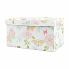 Butterfly Floral Rose Girl Small Fabric Toy Bin Storage Box Chest For Baby Nursery or Kids Room by Sweet Jojo Designs - Blush Pink, Mint and White Shabby Chic Watercolor Boho Butterflies Garden Flower