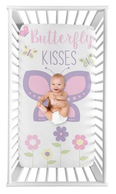 Butterfly Girl Fitted Crib Sheet Baby or Toddler Bed Nursery Photo Op by Sweet Jojo Designs - Pink and Purple Floral Flower Garden Kisses