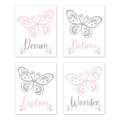 Butterfly Wall Art Prints Room Decor for Baby, Nursery, and Kids by Sweet Jojo Designs - Set of 4 - Pink and Grey Floral Flower Alexa Collection