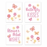 Butterfly Wall Art Prints Room Decor for Baby, Nursery, and Kids by Sweet Jojo Designs - Set of 4 - Pink and Orange Floral Flower Garden Kisses and Wishes