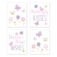 Butterfly Wall Art Prints Room Decor for Baby, Nursery, and Kids by Sweet Jojo Designs - Set of 4 - Pink and Purple Floral Flower Garden Kisses and Wishes