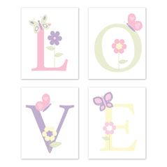 Butterfly Wall Art Prints Room Decor for Baby, Nursery, and Kids by Sweet Jojo Designs - Set of 4 - Pink and Purple Floral Flower Garden Love
