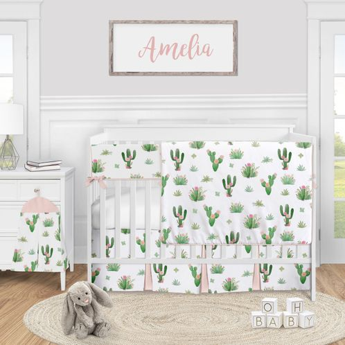 Cactus Floral Baby Girl Nursery Crib Bedding Set by Sweet Jojo Designs - 5 pieces - Pink and Green Boho Watercolor - Click to enlarge