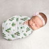 Cactus Floral Baby Girl Swaddle Blanket Jersey Stretch Knit for Newborn or Infant Receiving Security by Sweet Jojo Designs - Pink and Green Boho Watercolor Desert