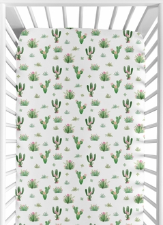 Cactus Floral Girl Jersey Stretch Knit Baby Fitted Crib Sheet for Soft Toddler Bed Nursery by Sweet Jojo Designs - Pink and Green Boho Watercolor Desert