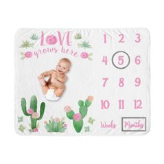 Cactus Floral Girl Milestone Blanket Monthly Newborn First Year Growth Mat Baby Shower Gift Memory Keepsake Picture by Sweet Jojo Designs - Pink and Green Boho Watercolor Desert Love Grows Here