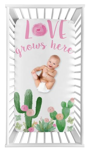 Cactus Floral Girl Fitted Crib Sheet Baby or Toddler Bed Nursery Photo Op by Sweet Jojo Designs - Pink and Green Boho Watercolor Love Grows Here - Click to enlarge