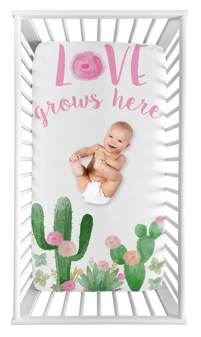 Pink Green Cactus Floral Boho Watercolor Baby Fitted Mini Portable Crib Sheet