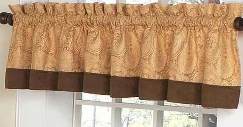Camel and Chocolate Paisley Window Valance - Click to enlarge