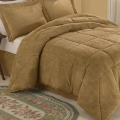 Camel Microsuede Down Comforter Alternative 4pc Bedding