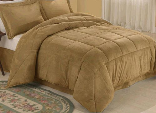 Camel Microsuede Down Comforter Alternative 4pc Bedding - Click to enlarge