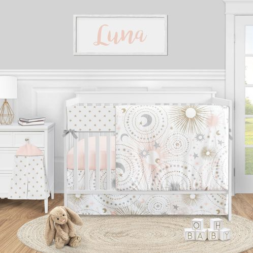 Celestial Star and Moon Baby Girl Nursery Crib Bedding Set by Sweet Jojo Designs - 5 pieces - Blush Pink Gold Grey and White - Click to enlarge