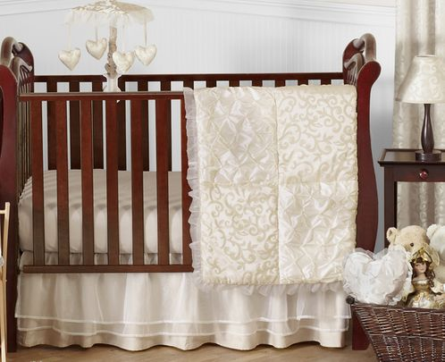 Champagne and Ivory Victoria Baby Bedding - 11pc Crib Set by Sweet Jojo Designs - Click to enlarge