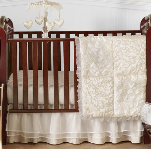 Champagne and Ivory Victoria Baby Bedding - 4pc Crib Set by Sweet Jojo Designs - Click to enlarge