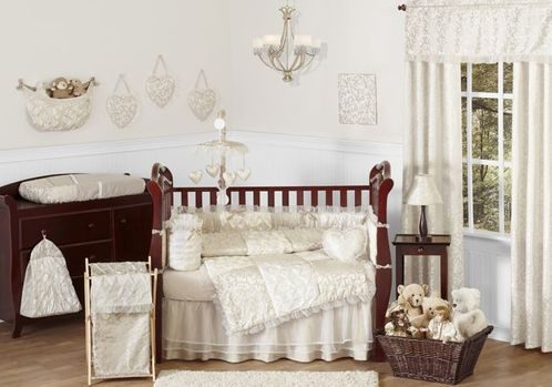 Champagne and Ivory Victoria Baby Bedding - 9pc Crib Set by Sweet Jojo Designs - Click to enlarge