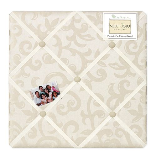 Champagne and Ivory Victoria Fabric Memory/Memo Photo Bulletin Board by Sweet Jojo Designs - Click to enlarge