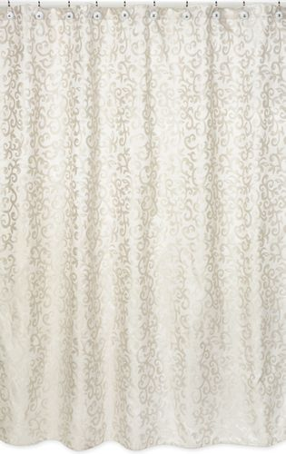 Champagne and Ivory Victoria Kids Bathroom Fabric Bath Shower Curtain by Sweet Jojo Designs - Click to enlarge
