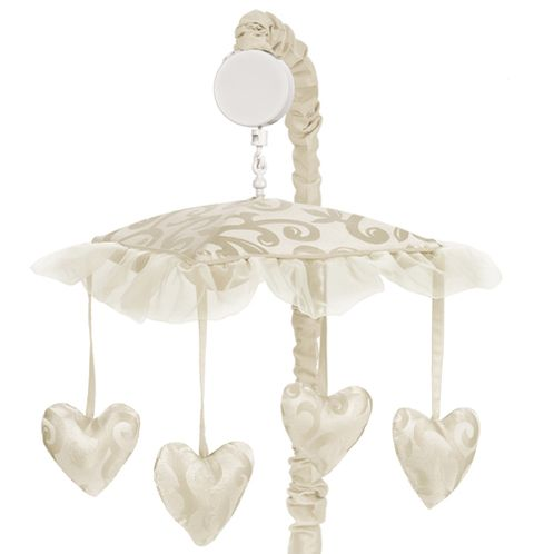 Champagne and Ivory Victoria Musical Baby Crib Mobile by Sweet Jojo Designs - Click to enlarge