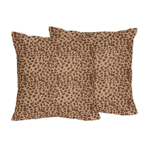 Cheetah Animal Print Decorative Accent Throw Pillows by Sweet Jojo Designs - Set of 2 - Click to enlarge