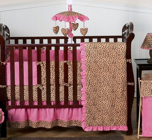 Cheetah Girl Pink and Brown Baby Bedding - 9 pc Crib Set - Click to enlarge