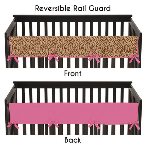 Cheetah Girl Pink and Brown Baby Crib Long Rail Guard Cover by Sweet Jojo Designs - Click to enlarge