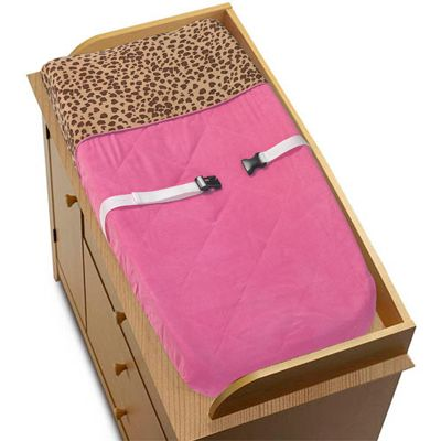 Cheetah Girl Pink and Brown Changing Pad Cover - Click to enlarge