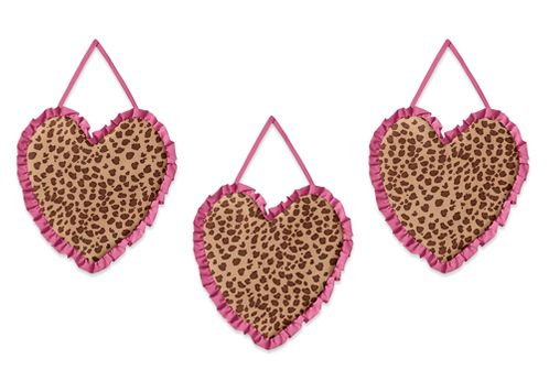 Cheetah Girl Pink and Brown Wall Art Hangings by Sweet Jojo Designs - Click to enlarge