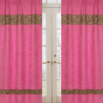 Cheetah Girl Pink and Brown Window Treatment Panels - Set of 2