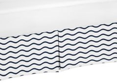 Chevron Wave Print Crib Bed Skirt for Blue Whale Collection Baby Bedding Sets
