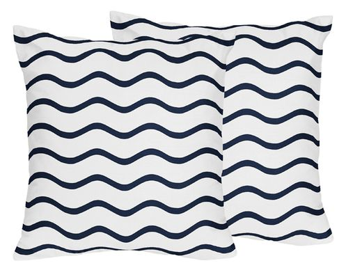 Chevron Wave Print Decorative Accent Throw Pillows for Blue Whale Collection by Sweet Jojo Designs - Set of 2 - Click to enlarge