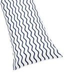 Chevron Wave Print Full Length Double Zippered Body Pillow Case Cover for Blue Whale Collection