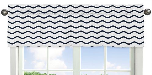 Chevron Wave Print Window Valance for Blue Whale Collection by Sweet Jojo Designs - Click to enlarge