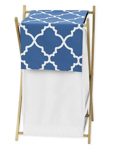 Childrens/Kids Clothes Laundry Hamper for Blue and White Trellis Bedding - Click to enlarge