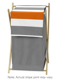 Childrens/Kids Clothes Laundry Hamper for Gray and Orange Stripe Bedding
