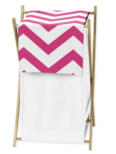 Childrens/Kids Clothes Laundry Hamper for Hot Pink and White Chevron Zig Zag Bedding - Click to enlarge