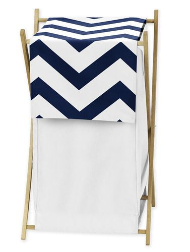 Childrens/Kids Clothes Laundry Hamper for Navy and White Chevron Zig Zag Bedding - Click to enlarge