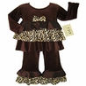 Chocolate and Cream Designer 2pc Leopard Rumba Baby Girls Outfit by Sweet Jojo Designs