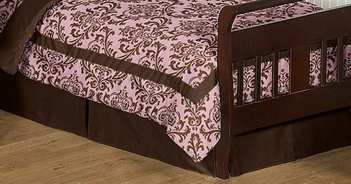 Chocolate Brown Nicole Bed Skirt for Toddler Bedding Sets by Sweet Jojo Designs - Click to enlarge