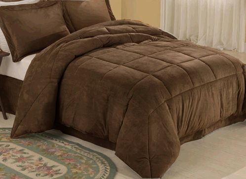 Chocolate Microsuede Down Comforter Alternative 4pc Bedding - Click to enlarge