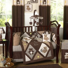 Chocolate Teddy Bear Baby Boys Bedding - 9pc Crib Set