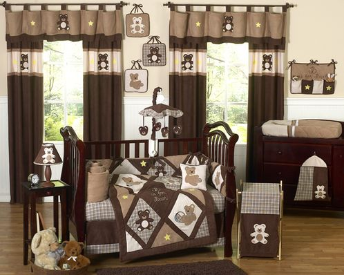 Chocolate Teddy Bear Baby Boys Bedding - 9pc Crib Set - Click to enlarge
