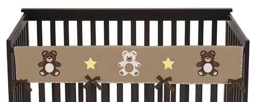 Chocolate Teddy Bear Baby Crib Long Rail Guard Cover by Sweet Jojo Designs - Click to enlarge